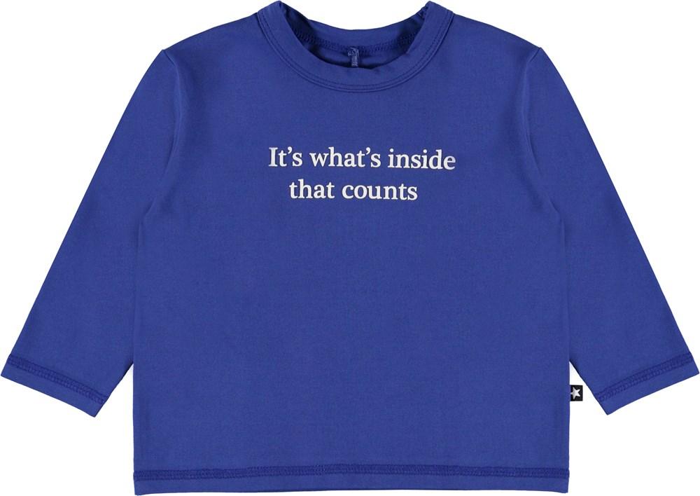Elvo - Royal Blue - Økologisk baby sweatshirt med tekst