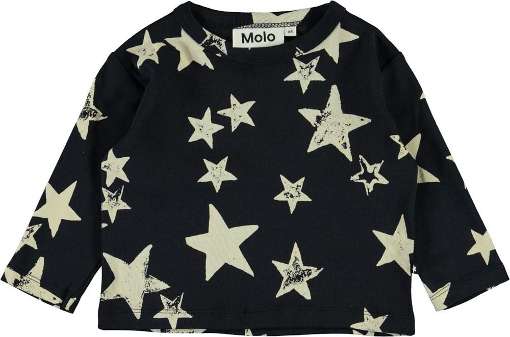 Elvo - White Navy Star - Økologisk baby bluse med stjerner