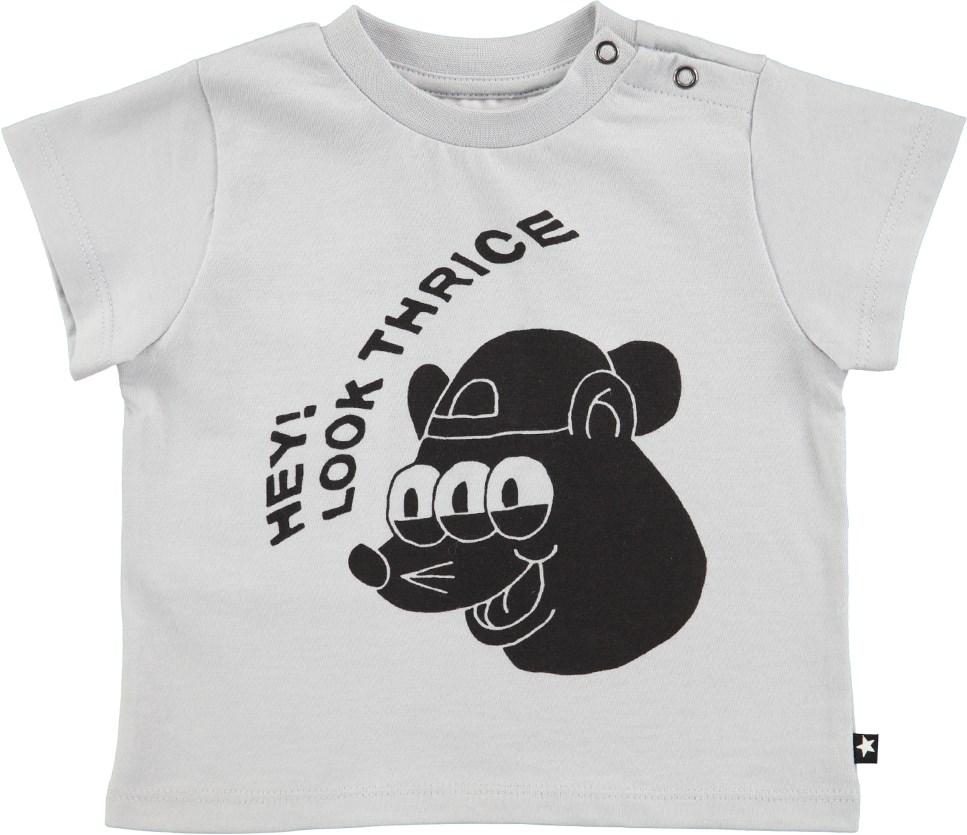 Emilio - Pearled Blue - Kortærmet, perlemorsblå baby t-shirt med cartoon print