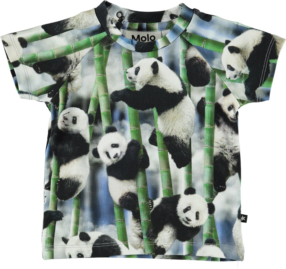 Emmett - Panda - Økologisk baby t-shirt med panda
