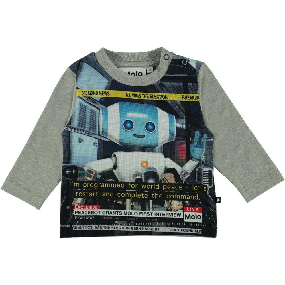 Enovan - Robot - Langærmet grå t-shirt med print af robot