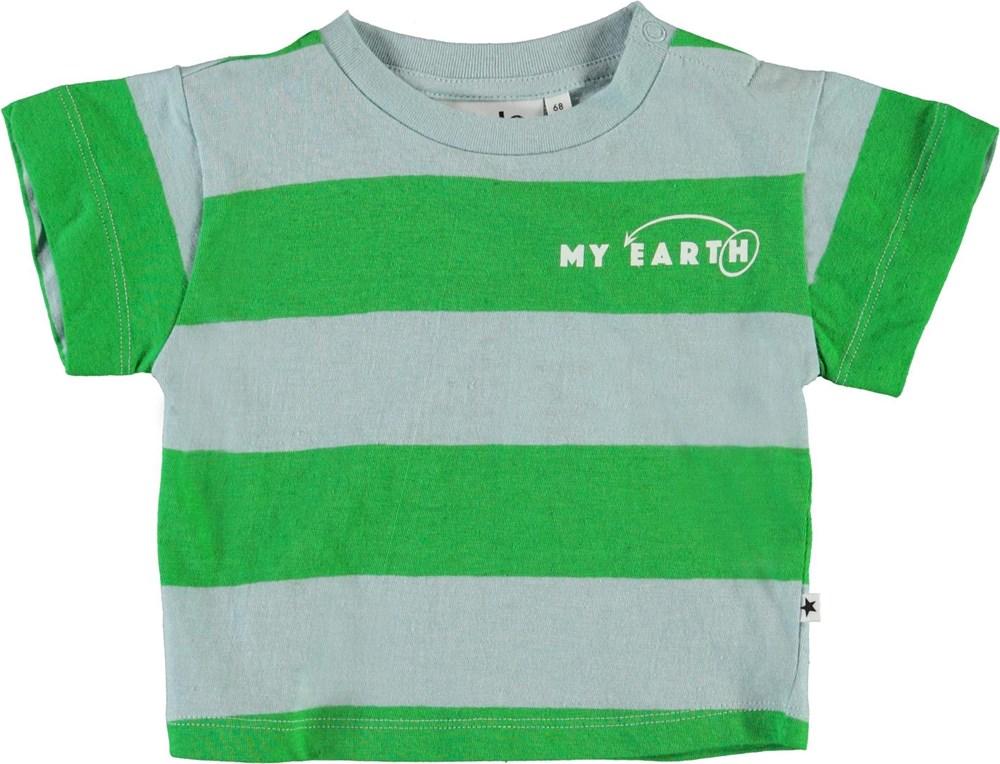 Enzo - Sterling Stripe - Blå og grøn stribet baby t-shirt