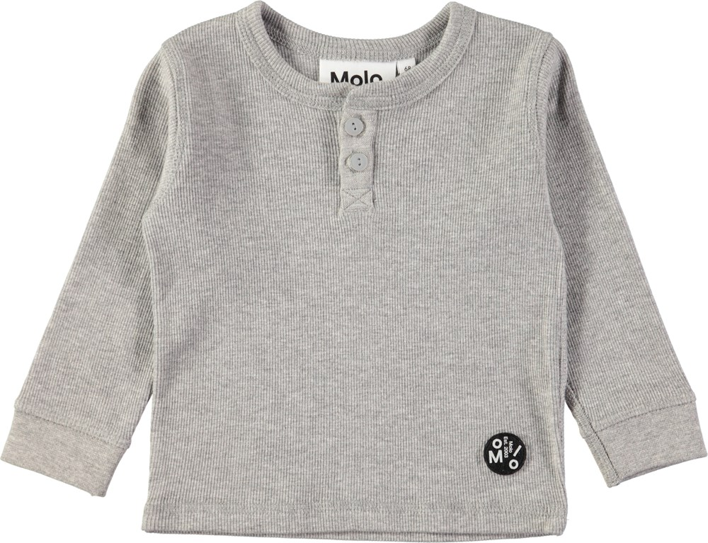 Ernst - Grey Melange - Grå baby bluse i blød rib