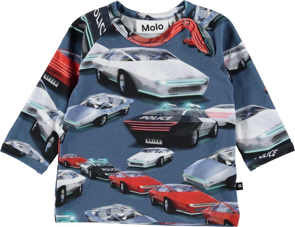 Ewald - Self-Driving Cars - Blå baby bluse med biler.