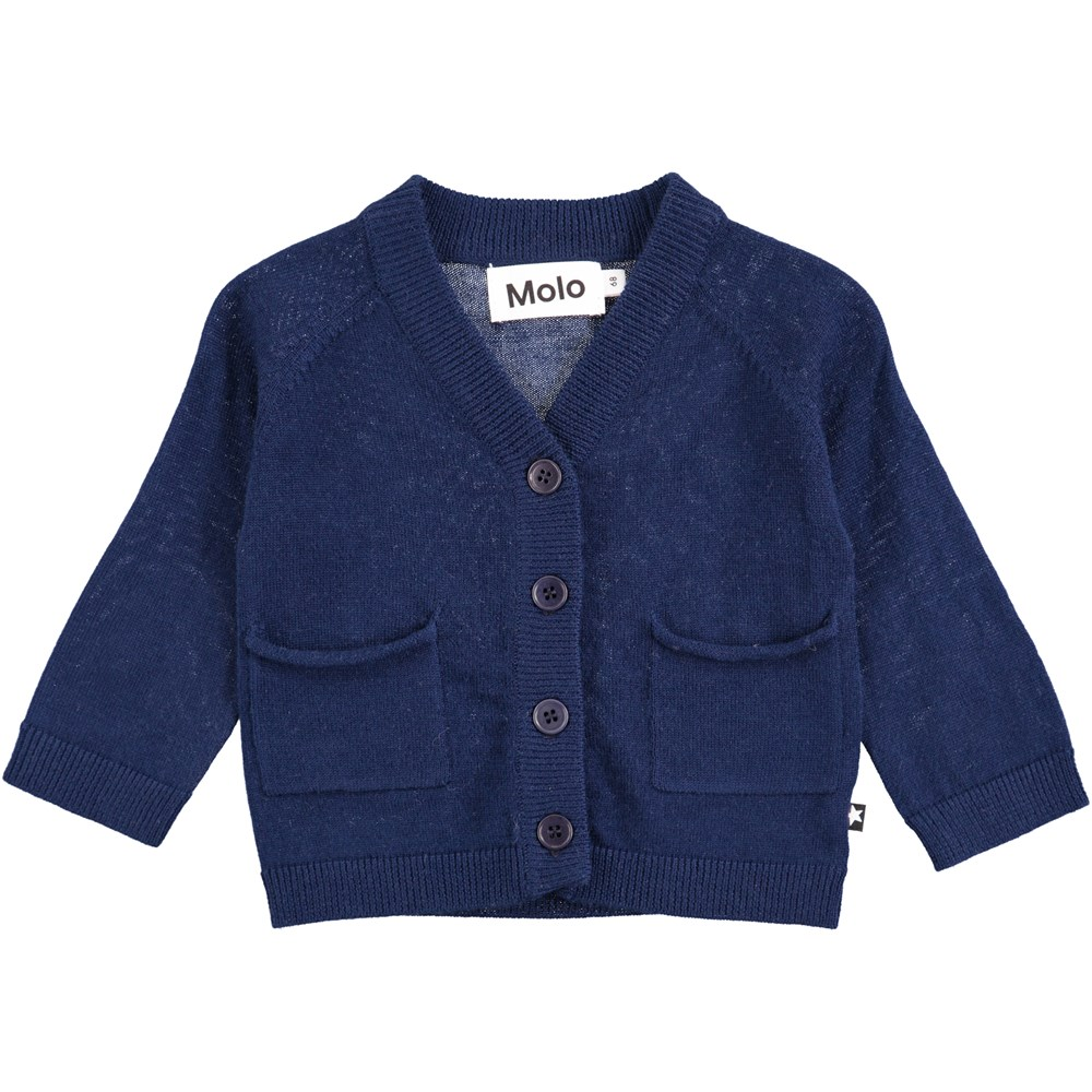 Benjamin - Infinity - Mørkeblå baby strik i uld med knapper og lommer