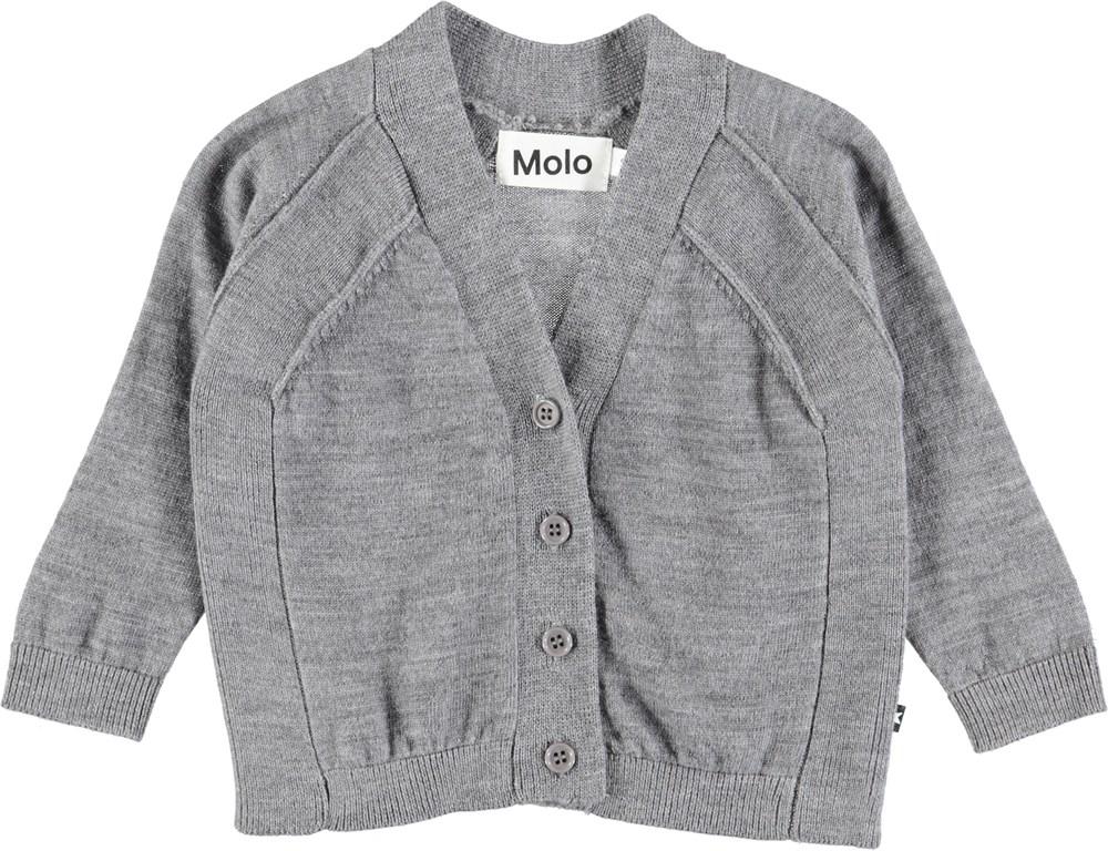 Benji - Grey Melange - Grå baby cardigan i uld
