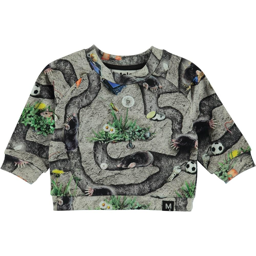 Dag - Moles - Baby sweatshirt med print af mulvarpe gange.