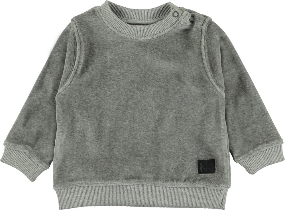 Dale - Grey Melange - Grå velour baby bluse.