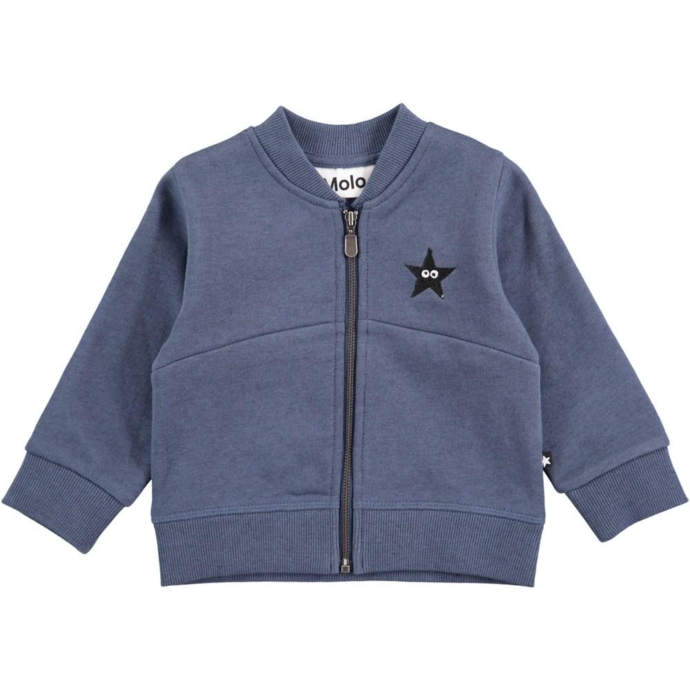 Damon - Infinity - Blå baby sweatshirt med lynlås