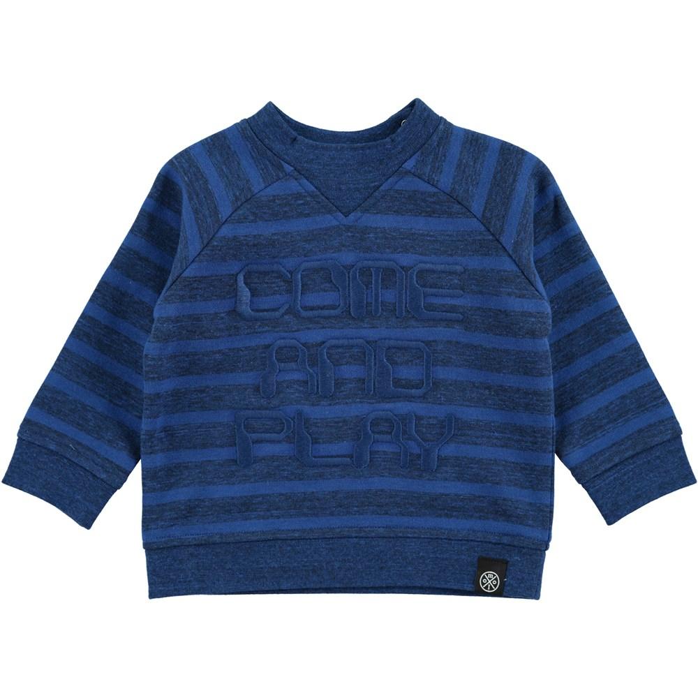Delroy - Blue Melange Stripe - blå baby sweat med striber