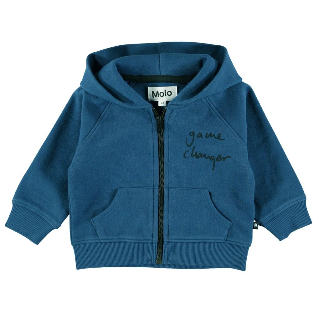 Dole - Indigo - Blå baby hoodie med lynlås