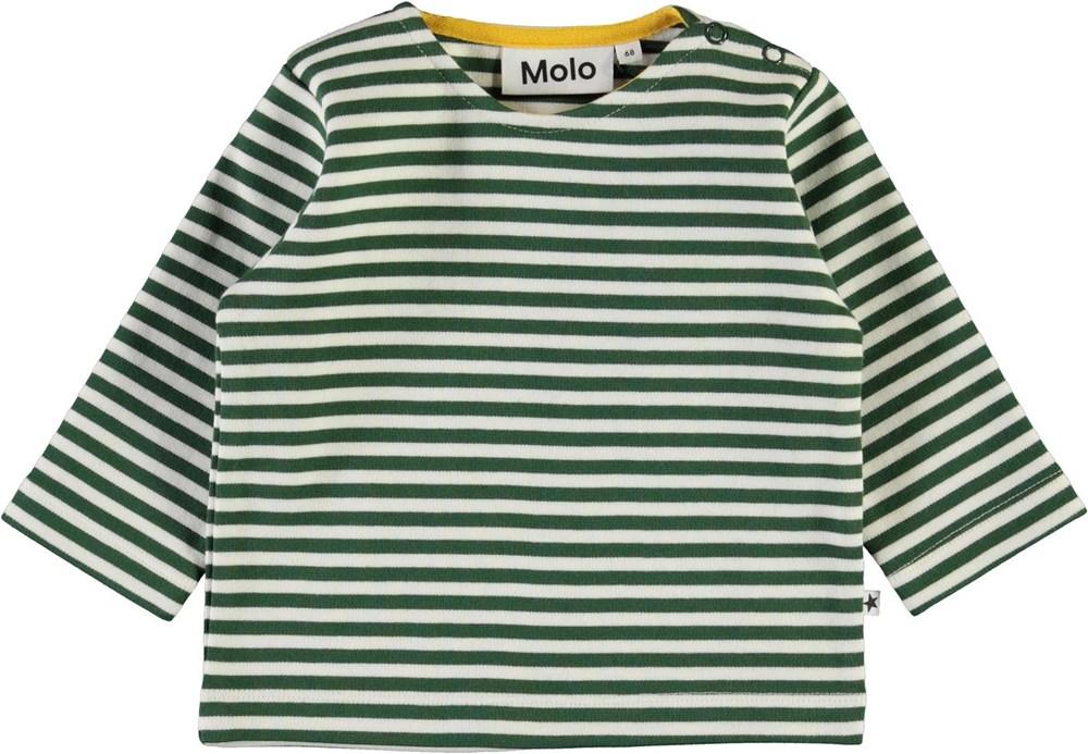 Dosti - Green Stripe - Økologisk babybluse med grønne striber
