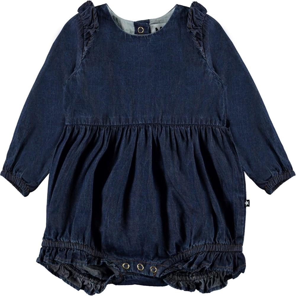 Fawn - Washed Dark Blue - Mörkblå body i jeans med volanger