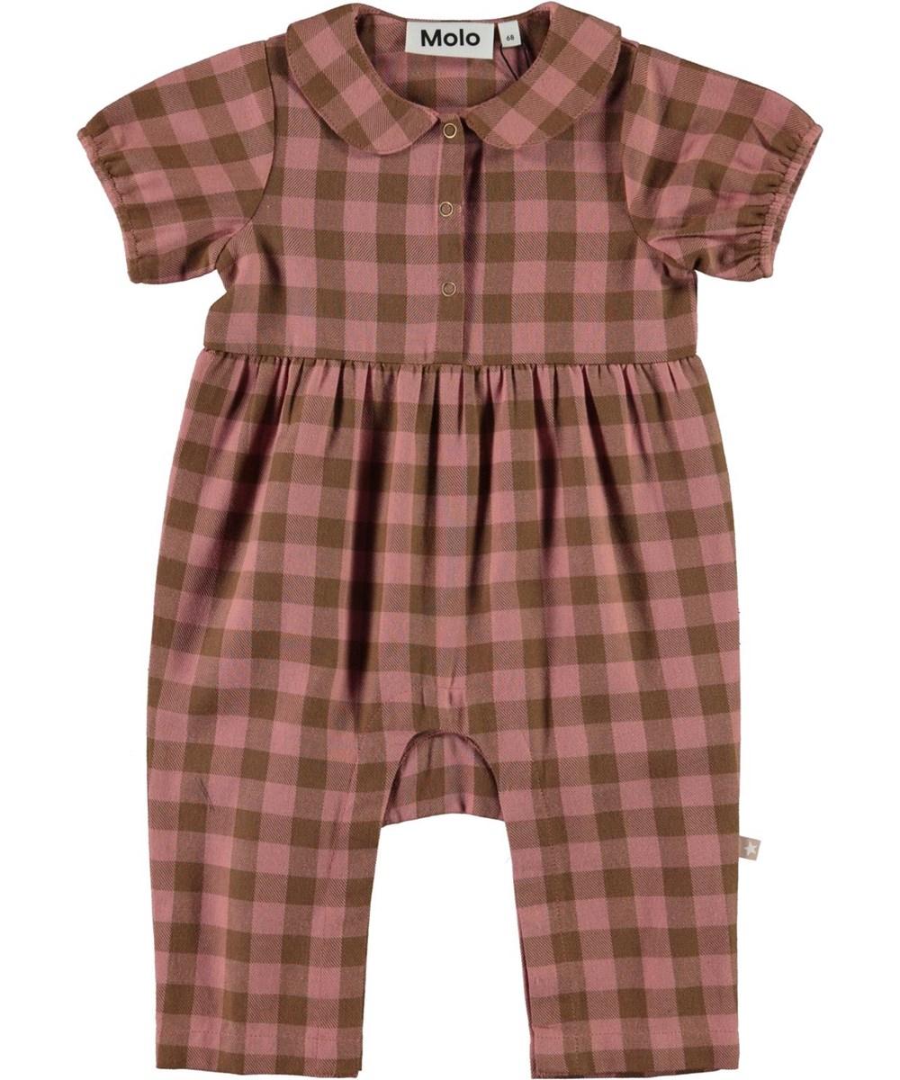 Fernanda - Autumn Check - Rutig babydräkt i rosa och brun