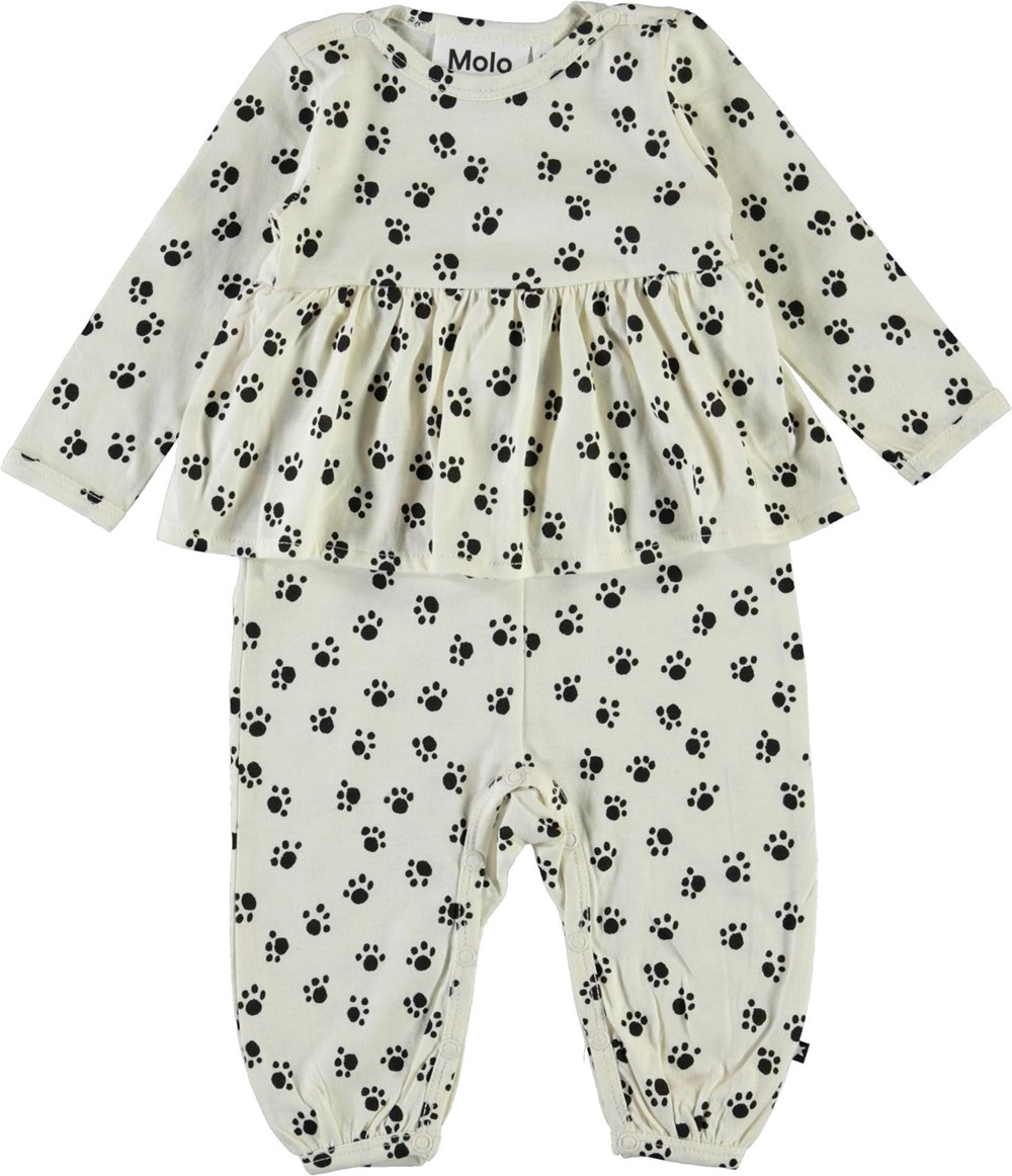 Flavia - Puppy Paws - Vit babydräkt med tassar