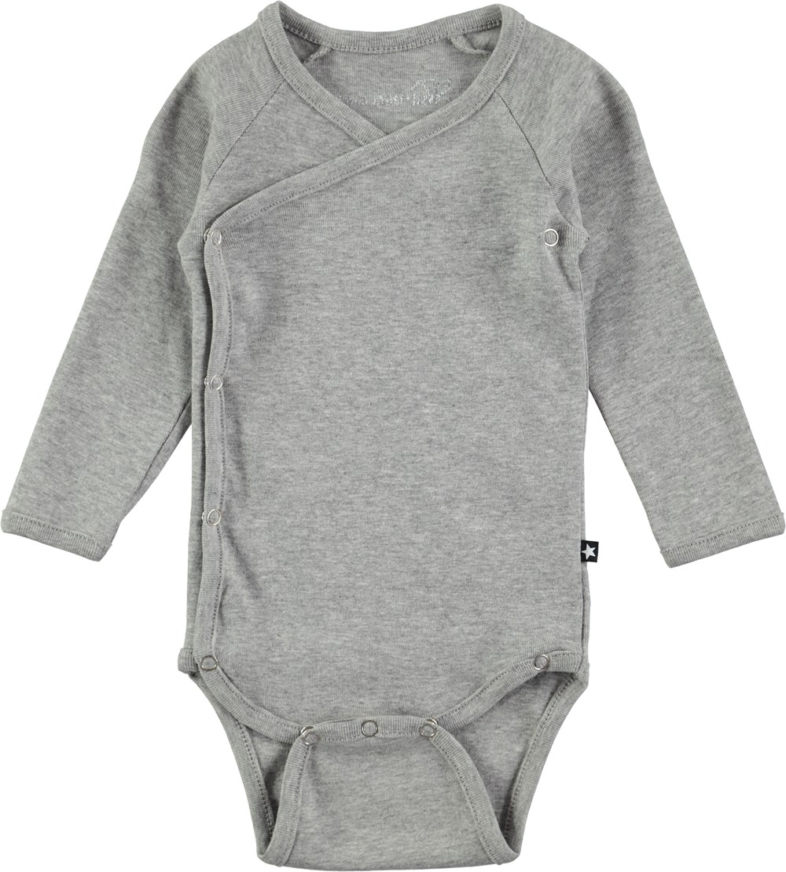 Flossie - Grey Melange - Grå långärmad body