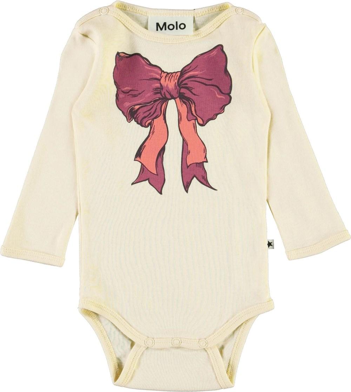 Foss - Banana Crepe - Ekologisk ljusgul babybody med rosett