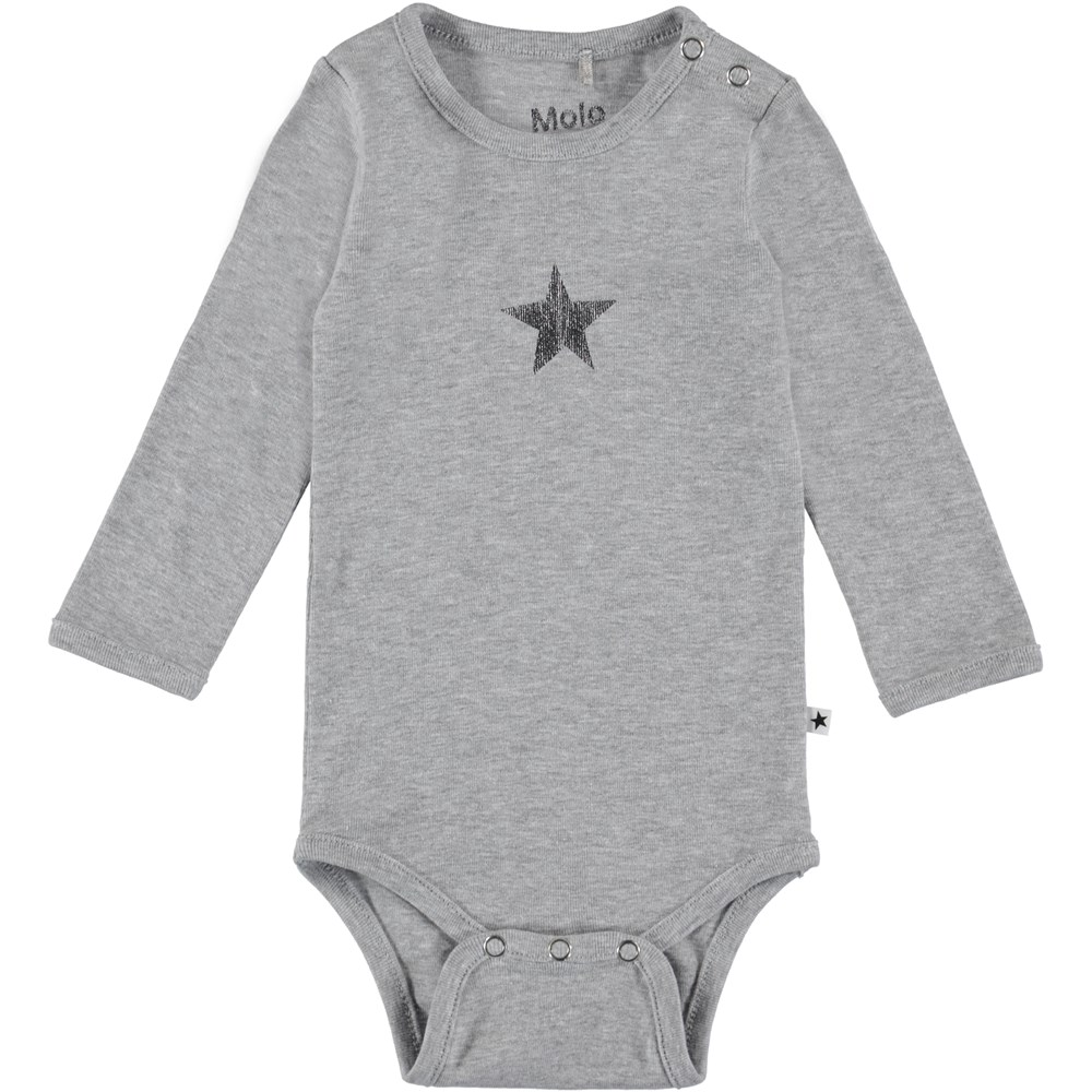 Foss - Light Grey Melange - Långärmad baby body i grå.