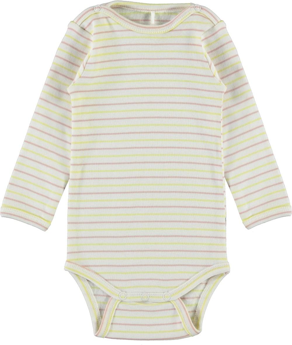 Foss - Striped Blush - Ekologisk babybody med ränder