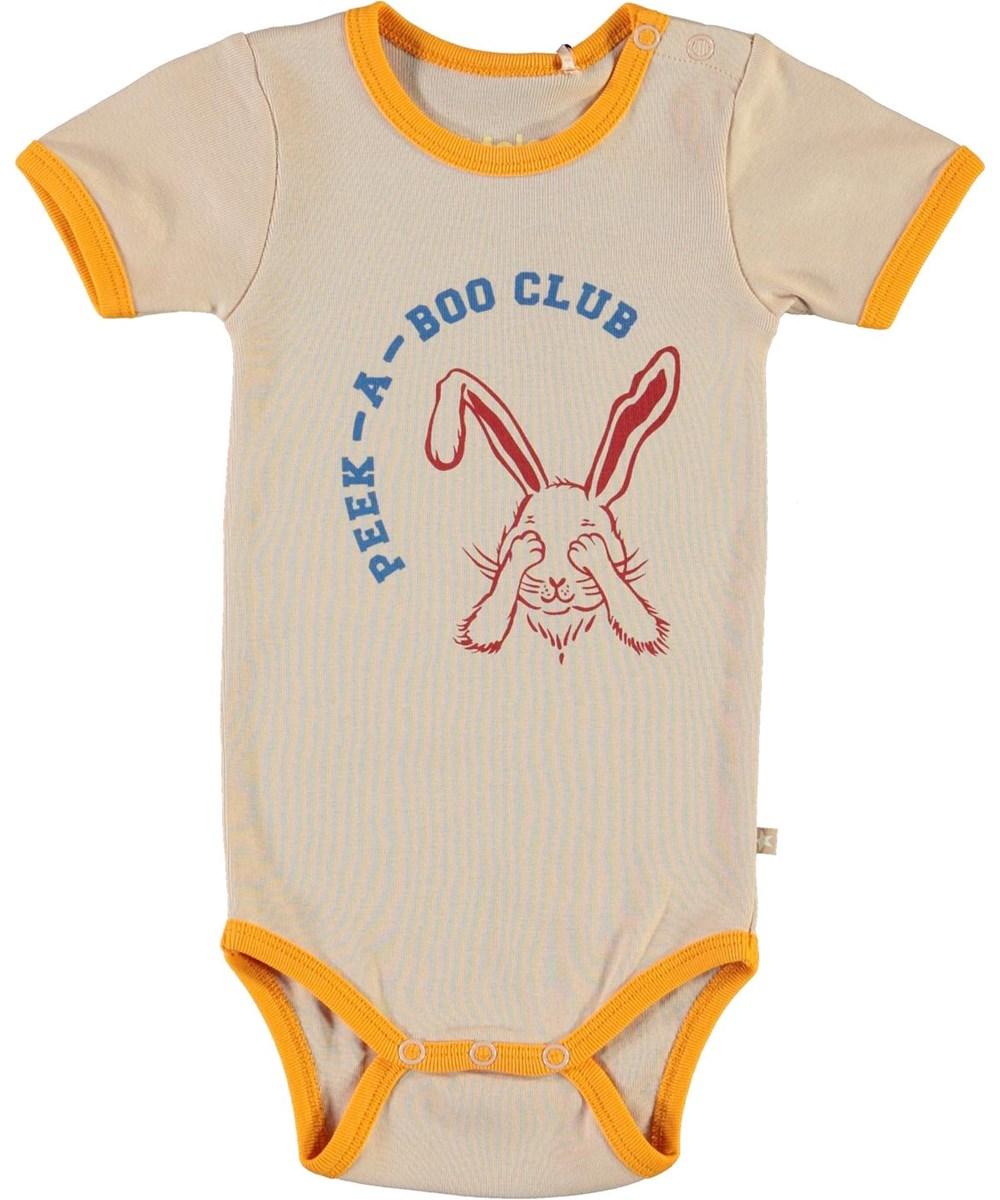 Fossie - Peekaboo - Ekologisk rosa babybody med kanin