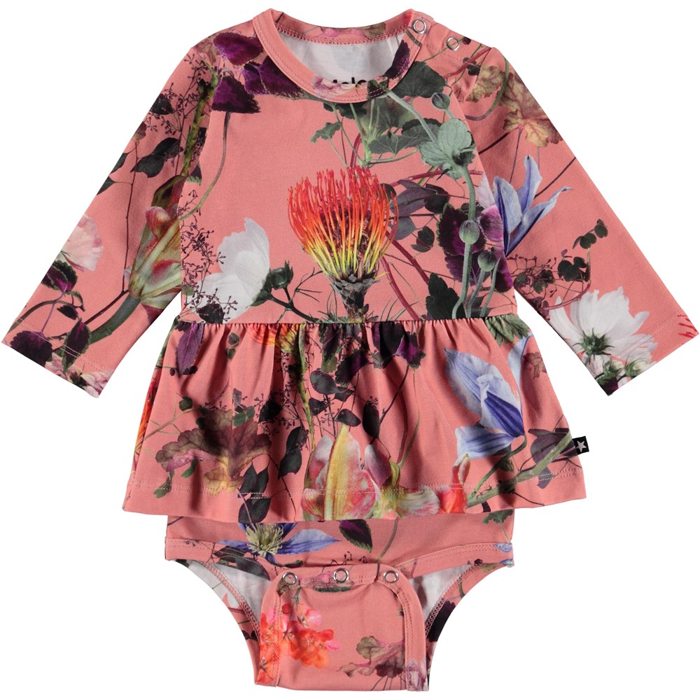 Frances - Flowers Of The World - Blommig baby body med peplum kjol.