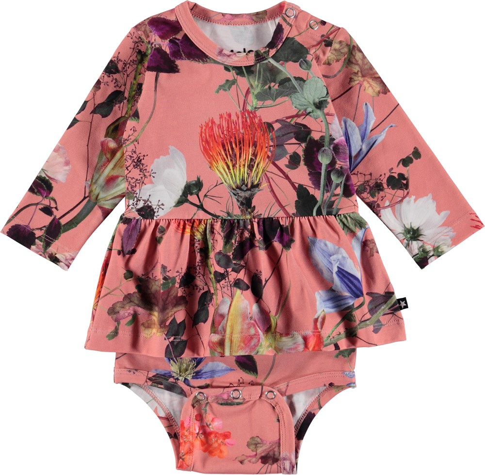 Frances - Flowers Of The World - Blommig baby body med peplum kjol.