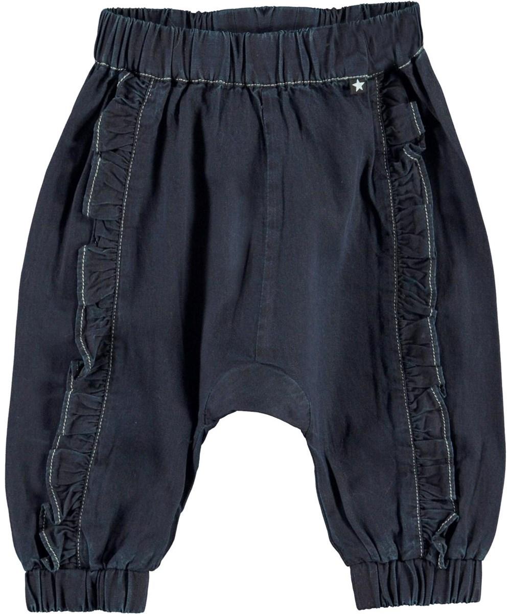 Sophia - Dark Indigo - Mörkblå jeans med volang