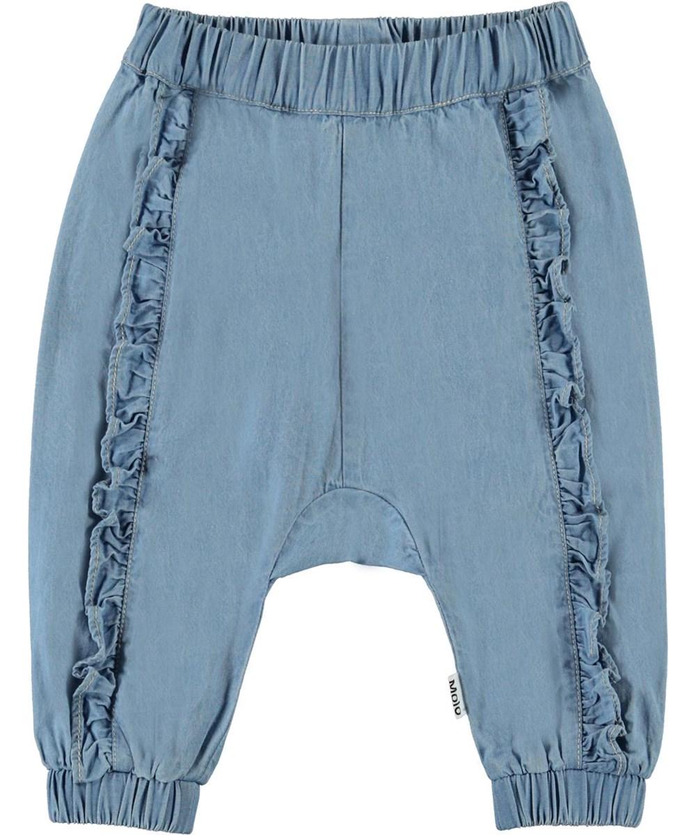 Sophia - Summer Wash Indigo - Ljusblå jeans till baby med volang