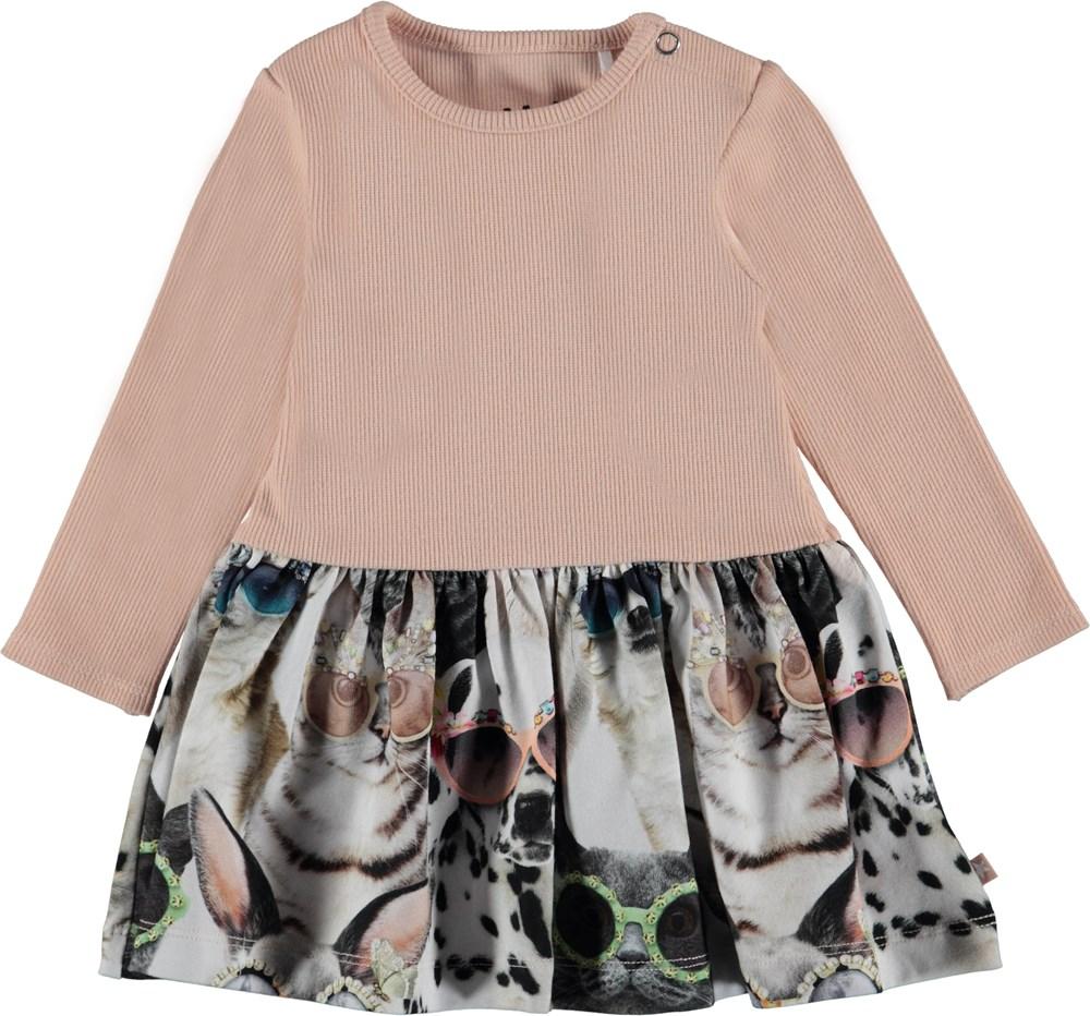 Carel - Sunny Funny - Baby klänning med enfärgad överdel och tryckt kjol.