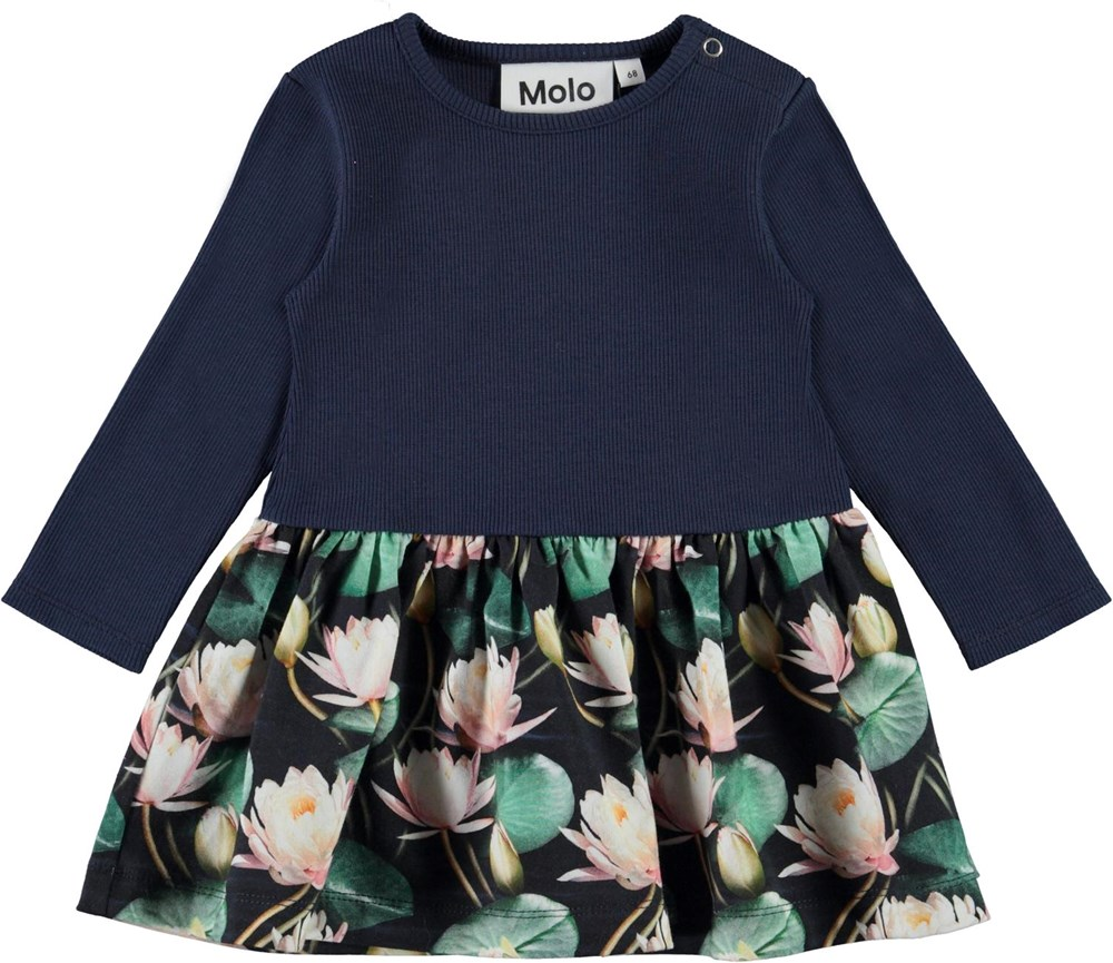 Carel - Water Lilies - Ekologisk mörkblå babyklänning med näckrosor