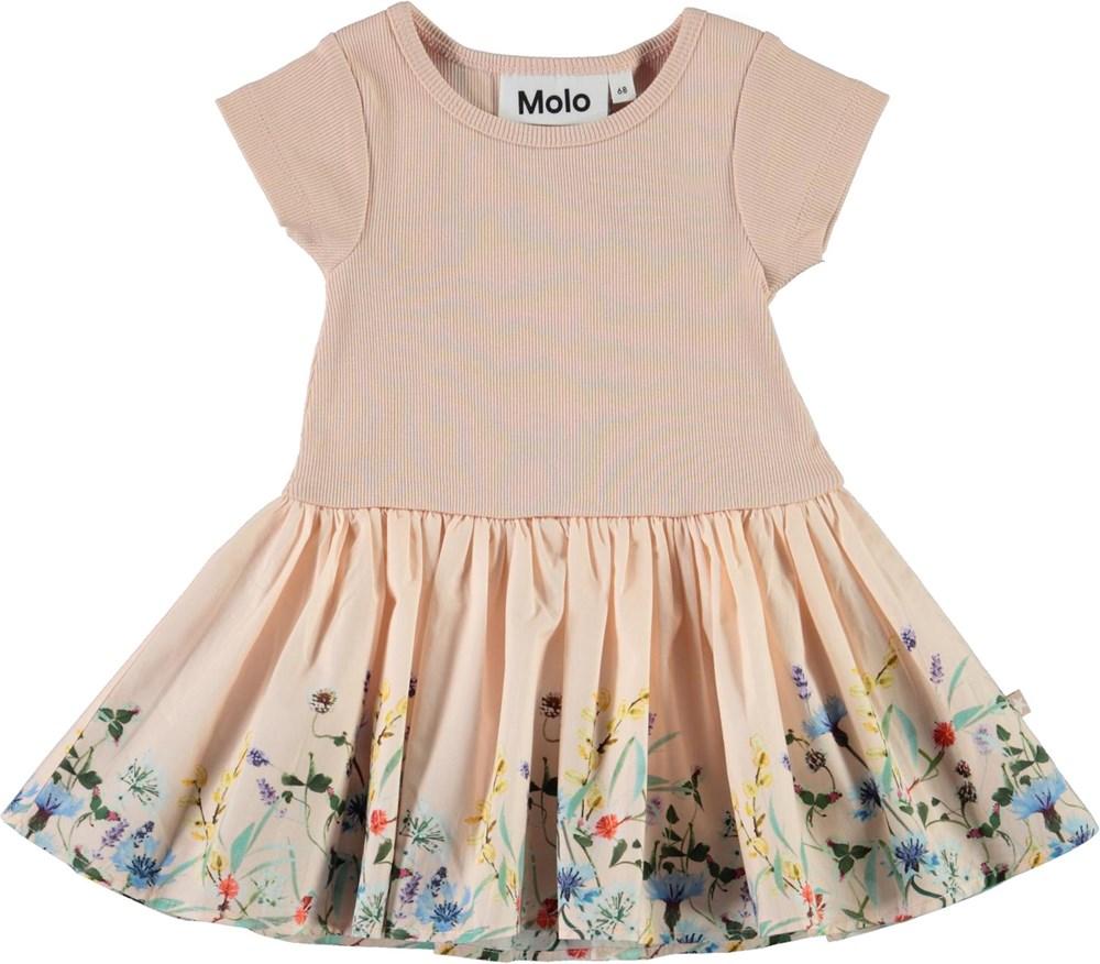 Carin - Wildflower_Rose - Økologisk lyserød baby kjole med blomster