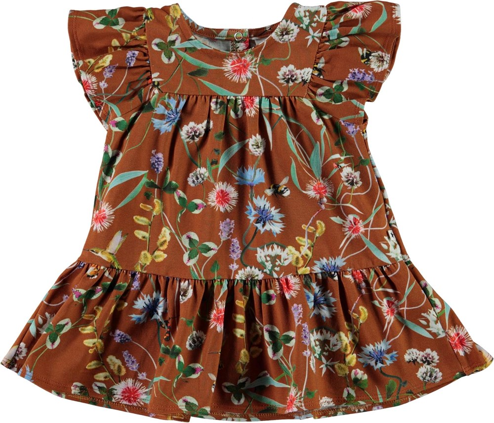 Carolle - Wildflowers - Ekologisk brun babyklänning med blommor