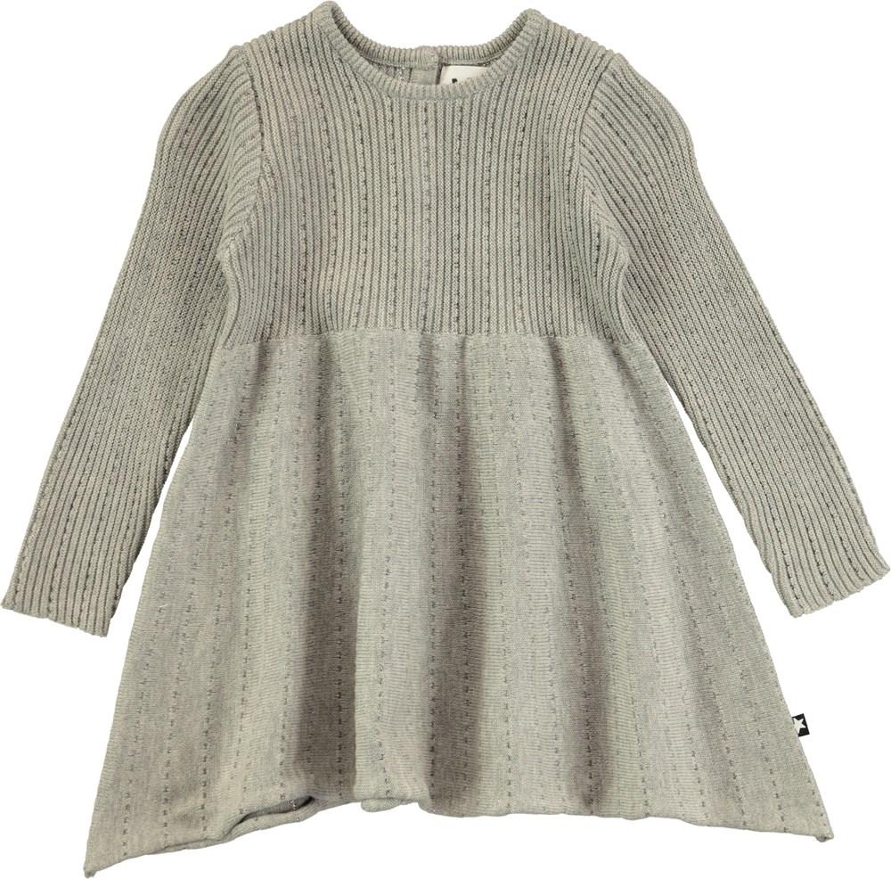 Cass - Grey Melange - Långärmad, stickad baby klänning