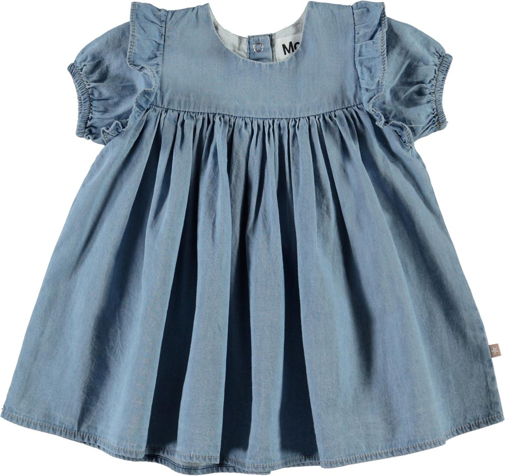 Chanda - Summer Wash Indigo - Ljusblå jeanskjol till baby