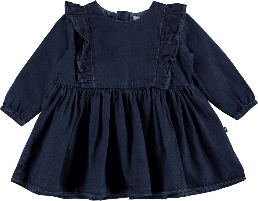 Chocho - Dark Indigo - Mörkblå jeansklänning med volanger