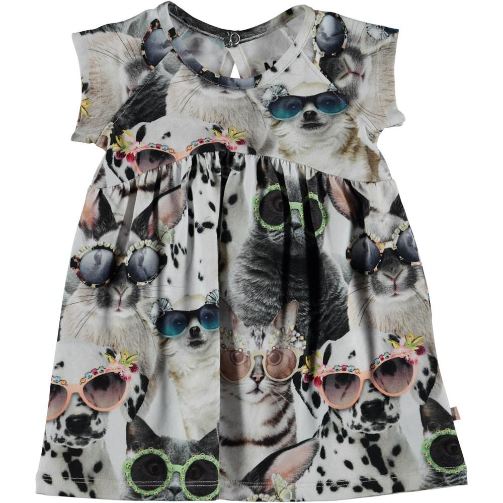 Cille - Sunny Funny - Baby klänning med tryck av djur.