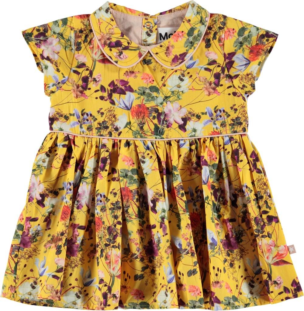 Cinna - Sunrise Flowers - Gul poplin klänning med blommor.