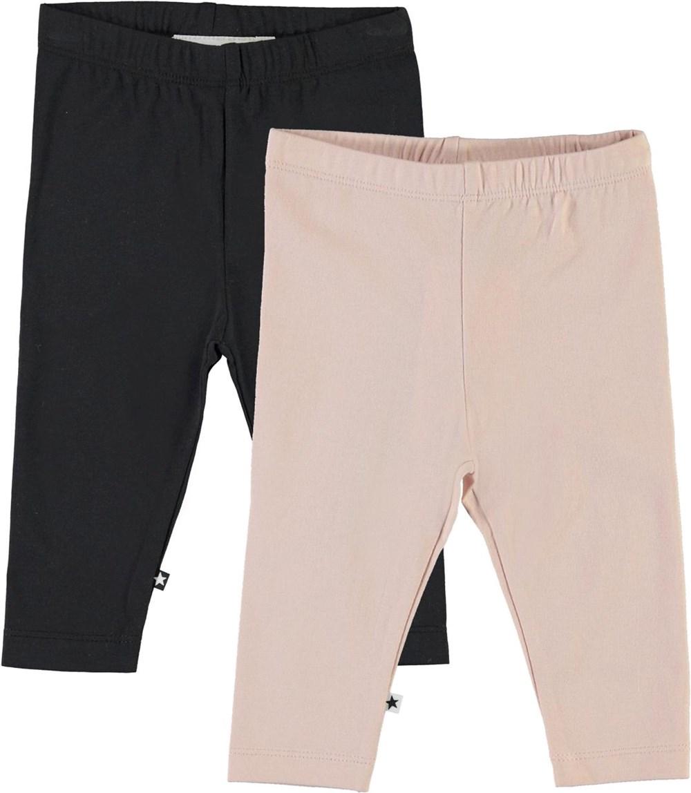Nette 2-Pack - Black Blush - Ekologiska 2-pack babyleggings