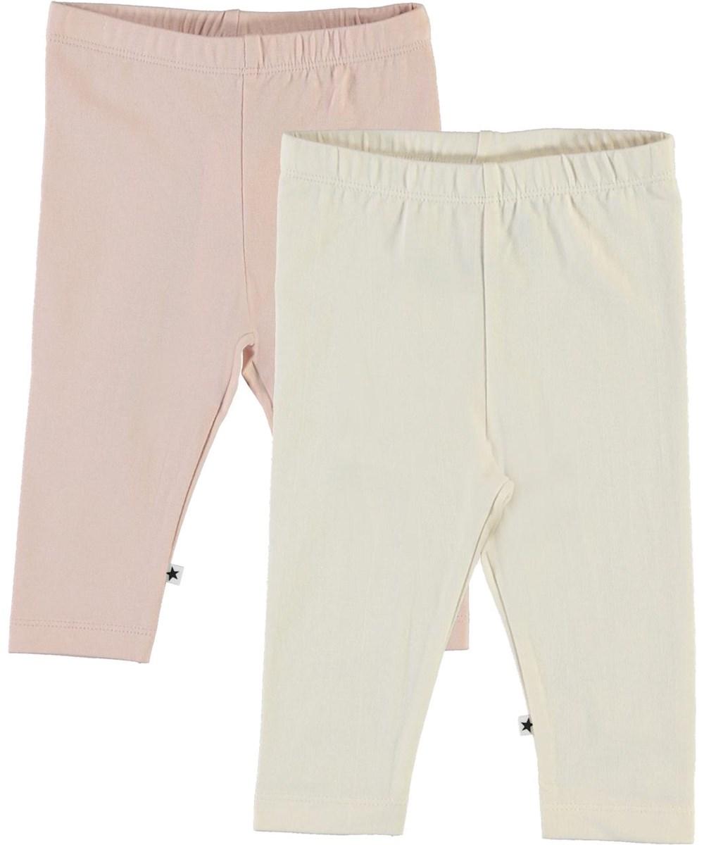 Nette 2-Pack - Pearled Blush - Ekologiska 2-pack babyleggings