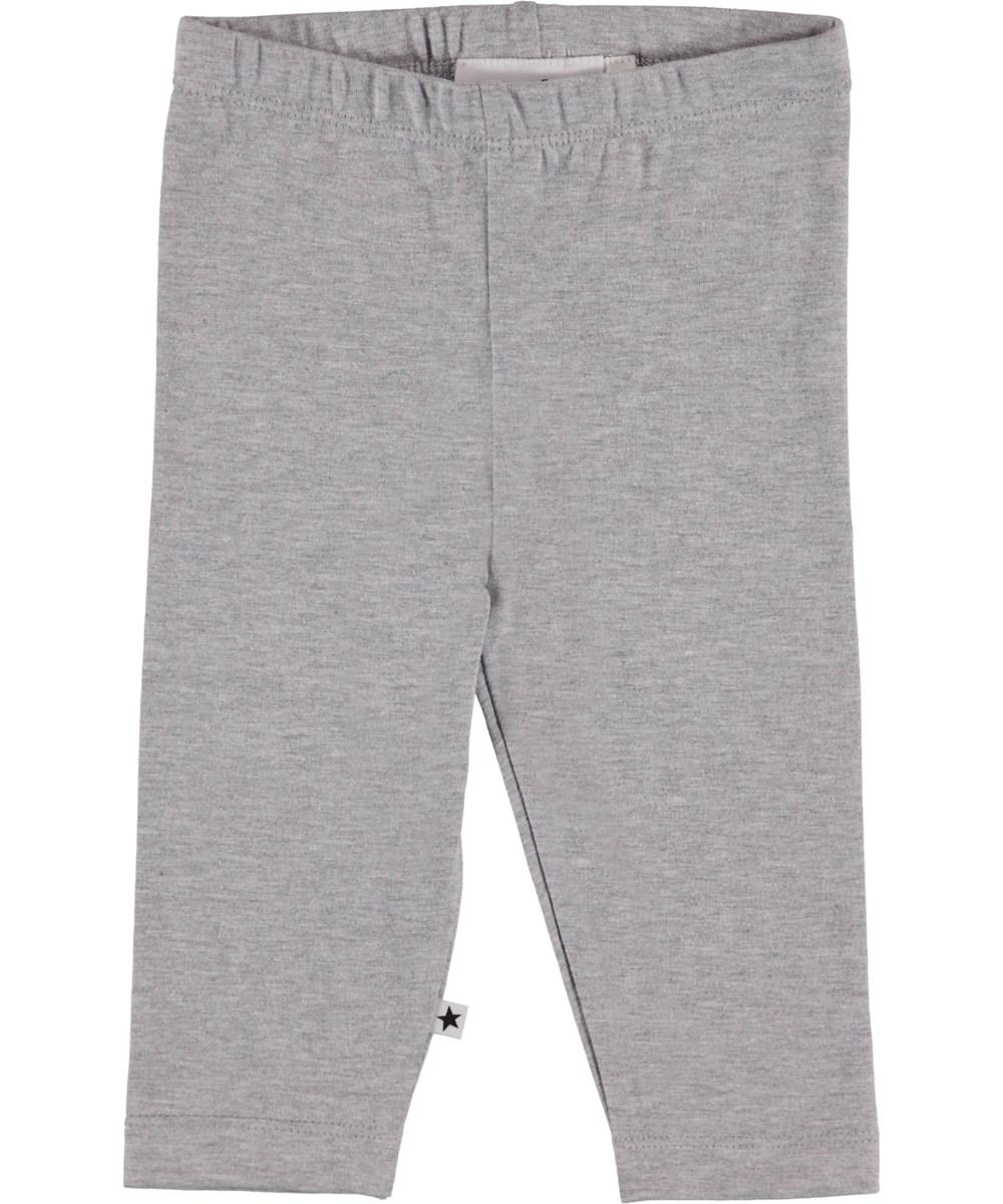 Nette Solid - Light Grey Melange - Gråmelerad baby leggings.