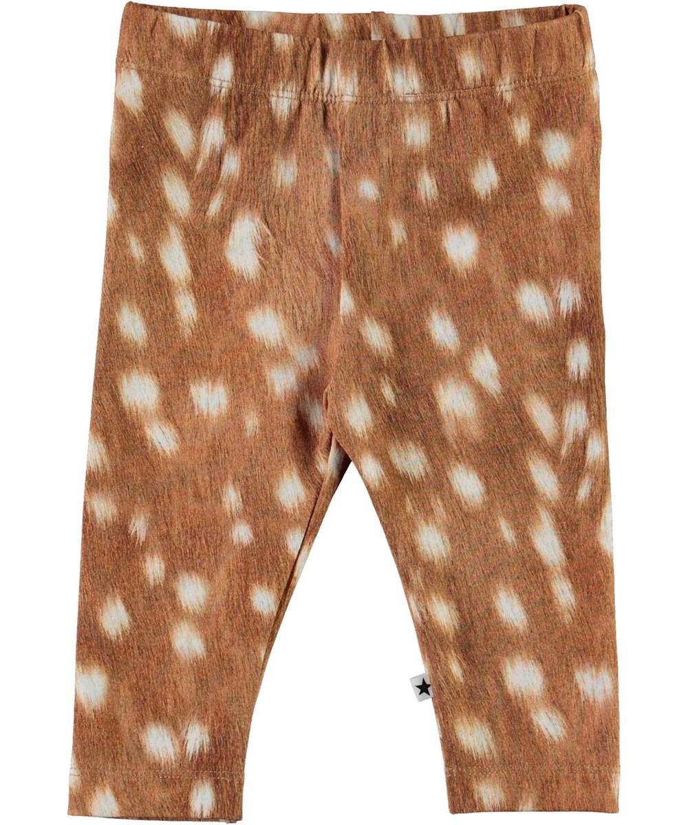 Stefanie - Baby Fawns - Ekologiska bruna leggings med vita fläckar