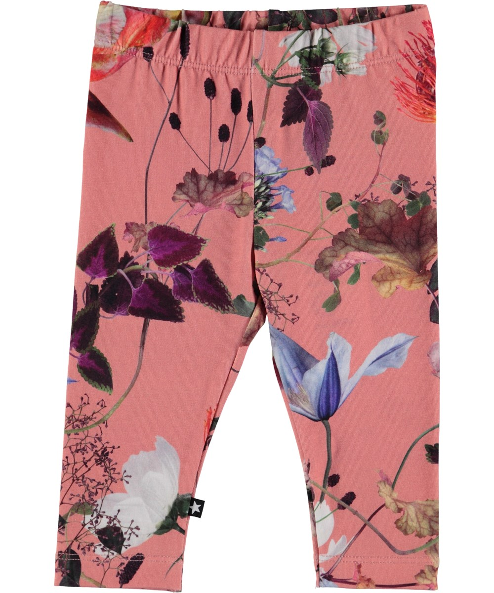 Stefanie - Flowers Of The World - Blommig baby leggings.