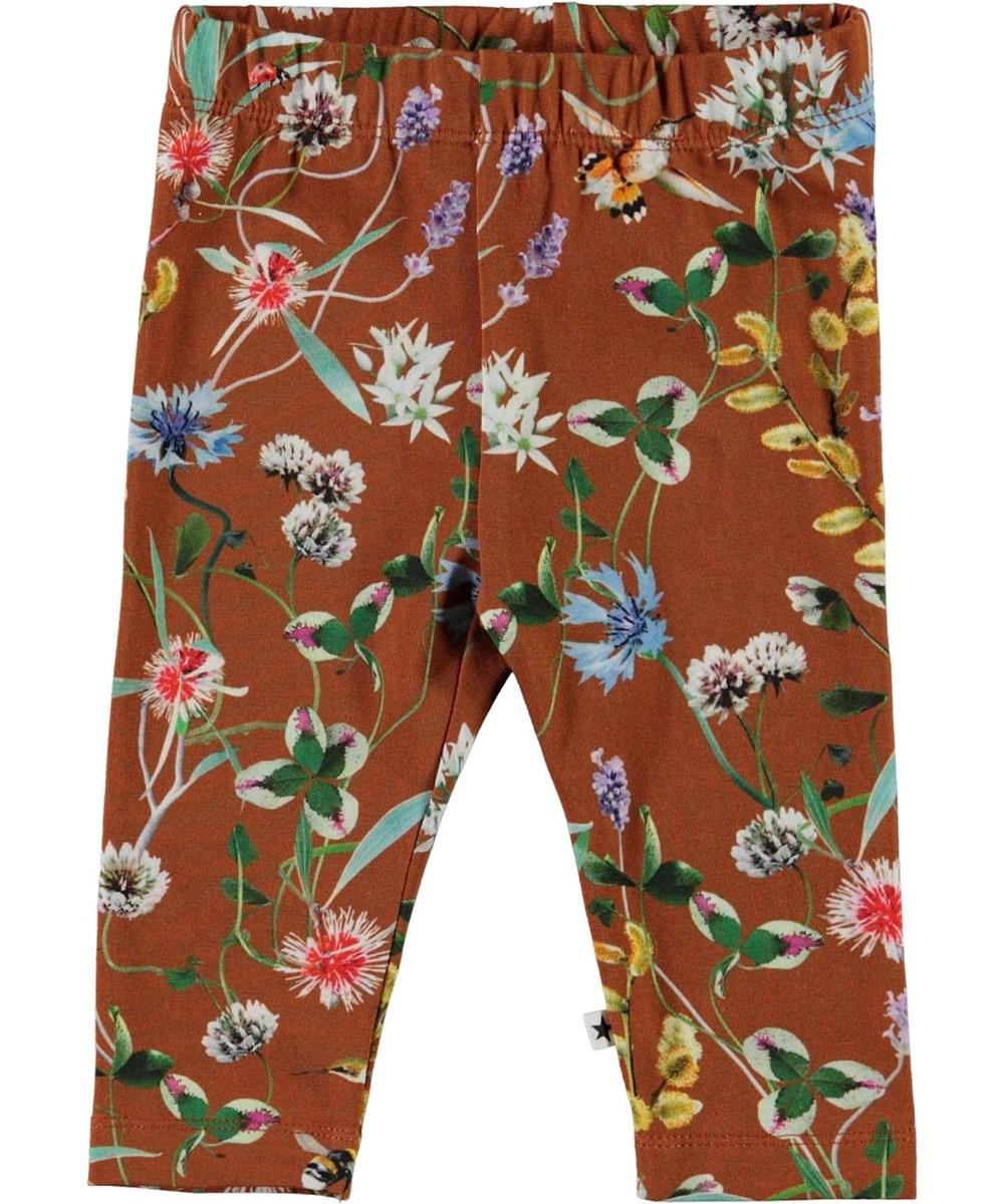 Stefanie - Wildflowers - Ekologiska bruna leggings med blommor
