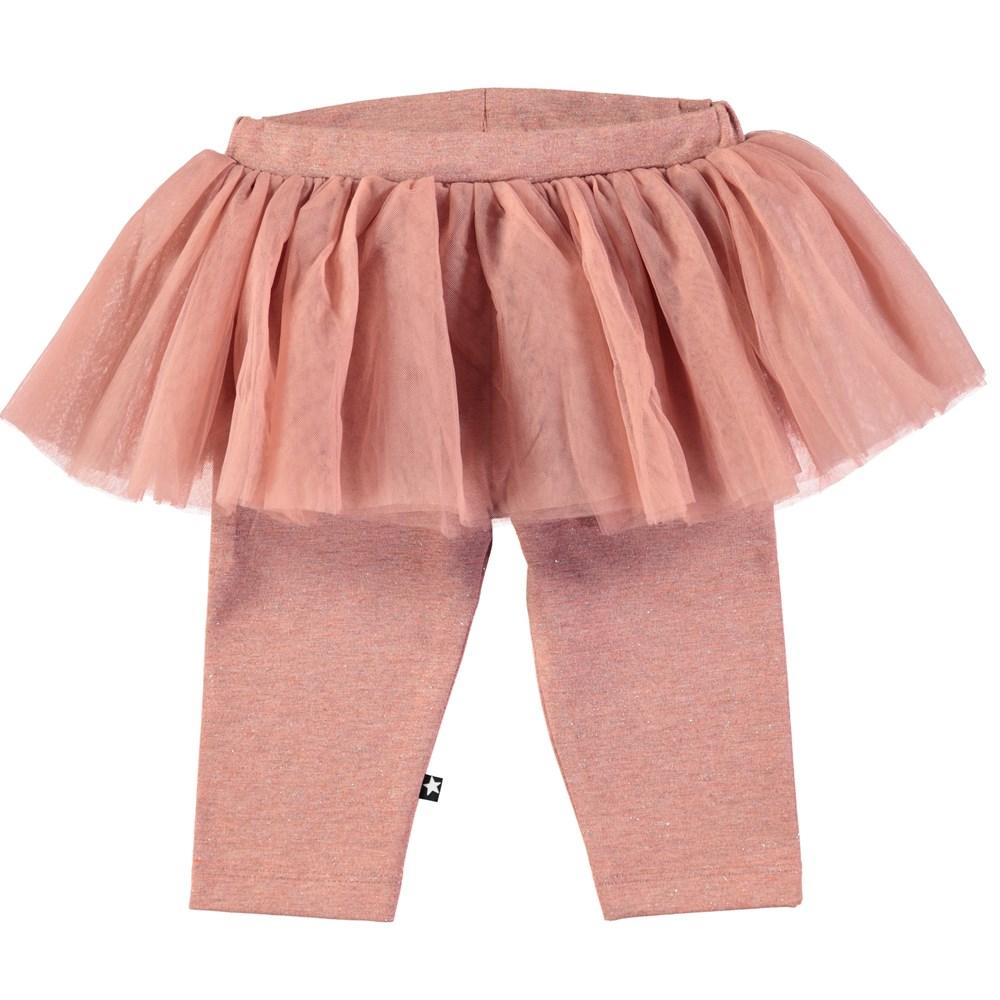 Sus - Blush - Baby leggings i mörk rosa med tyllvolang