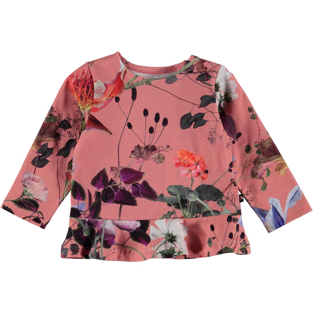 Elisabeth - Flowers Of The World - Blommig baby blus med peplum.