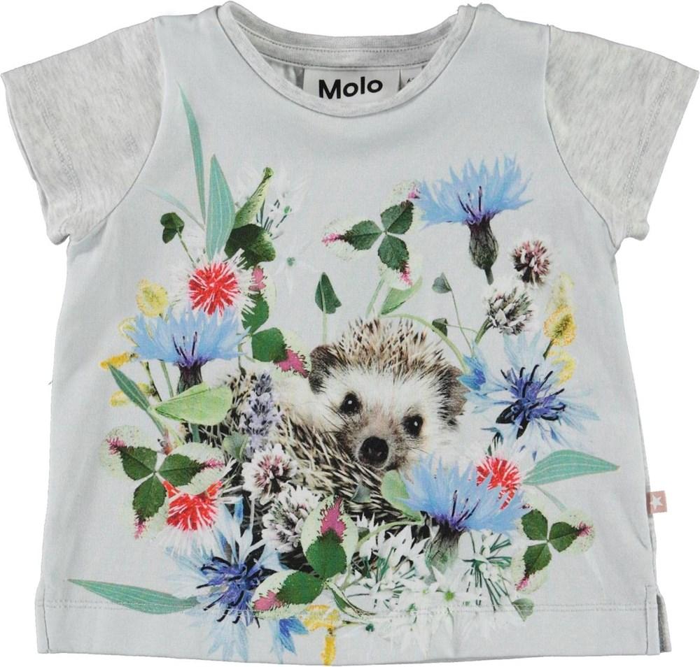 Elly - Mini Hedgehogs - Ekologisk baby t-shirt med igelkott
