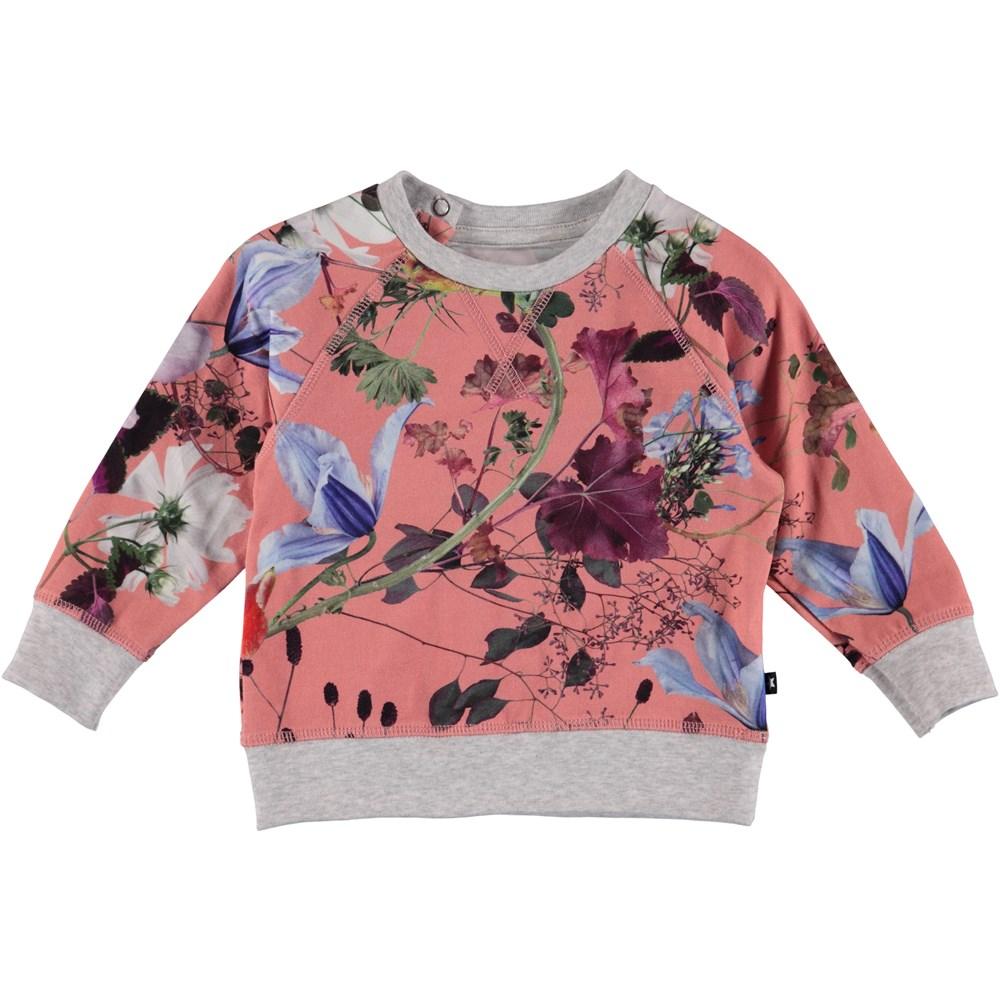 Elsa - Flowers Of The World - Blommig baby sweatshirt.
