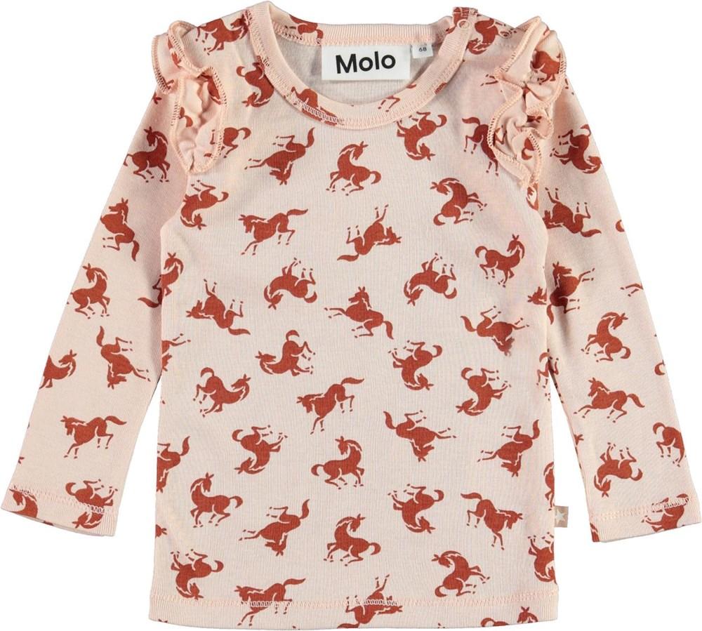 Emma - Mini Horse Jersey - Ekologisk rosa tröja med hästar