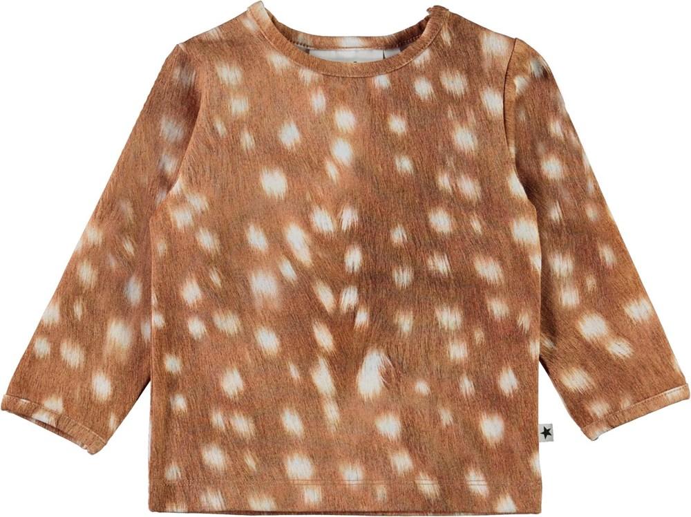 Eva - Baby Fawns - Ekologisk brun tröja till baby med vita fläckar