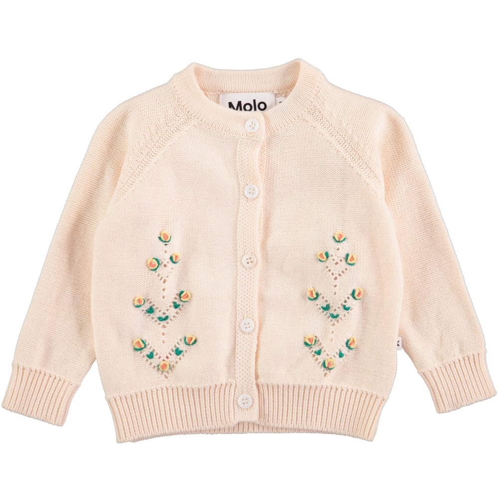 Georgette - Pearled Ivory - Långärmad, stickad baby cardigan i ljusrosa